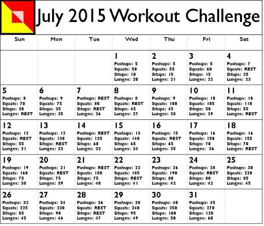 July 2015 Workout Challenge